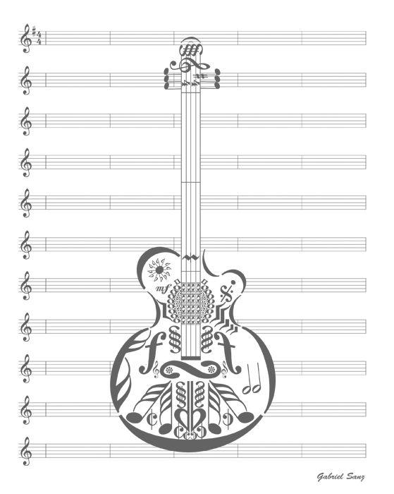 guitarra hecha con notas