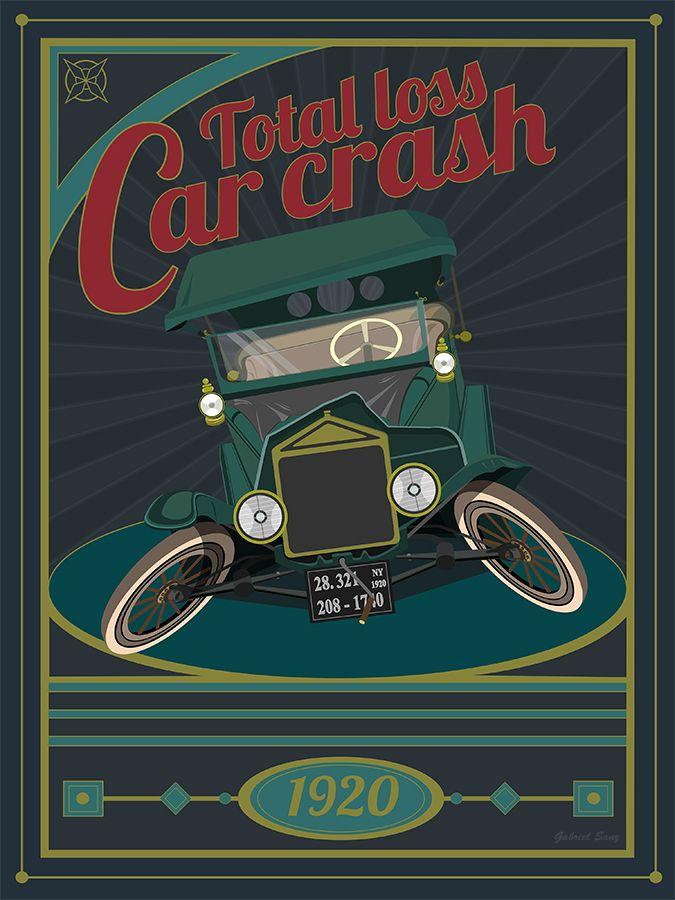 cartel Car crash por Gabriel Sanz