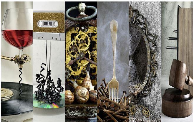 Mosaico de bodegones conceptuales modernos