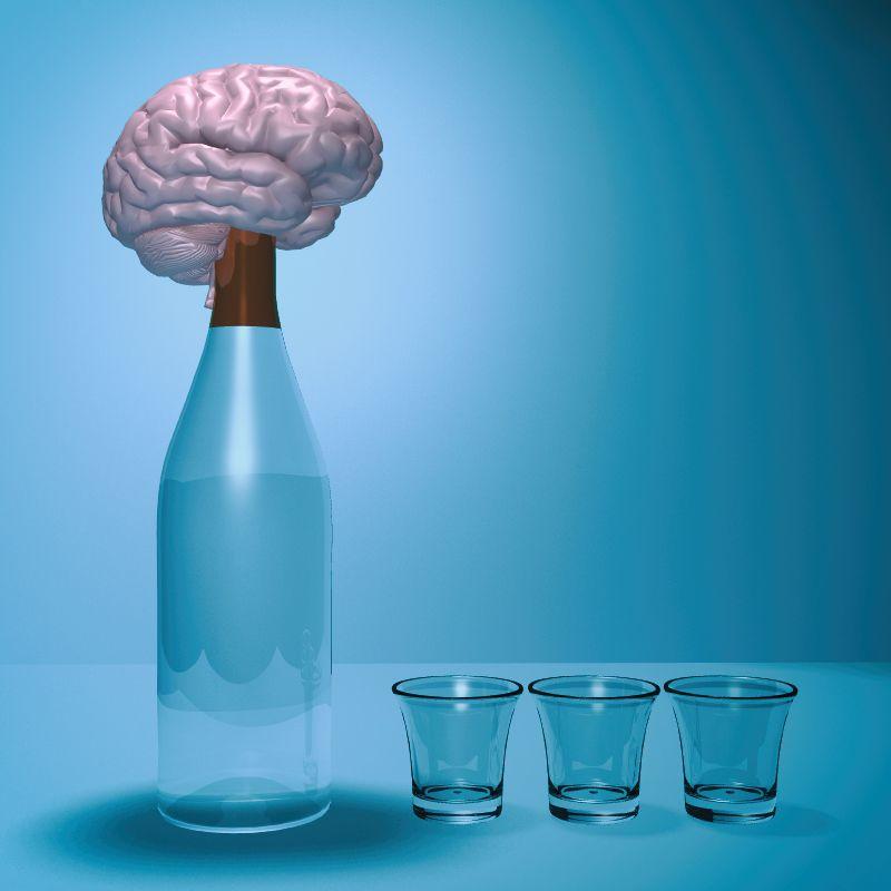 Cerebro sobre una botella de cristal