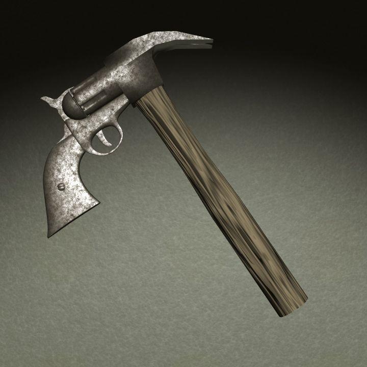 Revolver martillo - Bodegon 3D por Gabriel Sanz Glitch